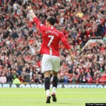 MANCHESTER, ENGLAND - MAY 10: Cristiano Ronaldo of Manchester United celebrates scoring their first goal during the Barclays Premier League match between Manchester United and Manchester City at Old Trafford on May 10 2009 in Manchester, England. (Photo by Chris Coleman/Manchester United via Getty Images)